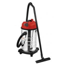 Aspirateur eau et poussière 1200w 30L inox + prise machine