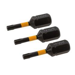 Lot de 3 embouts de vissage impact T10 - T10 - 25 mm