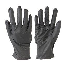 Pack de 100 gants nitrile sans poudre jetables - Noirs - Taille L