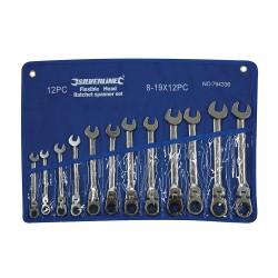 Trousse de 12 clés mixtes à cliquet à tête inclinable - 8 - 19 mm