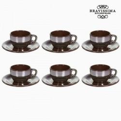 Ensemble de thé Vaisselle Marron (12 pcs) - Collection Kitchen's Deco by Bravissima Kitchen