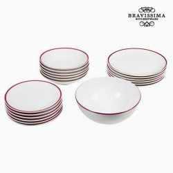 Assietes (19 pcs) Blanc Bordeaux - Collection Kitchen's Deco by Bravissima Kitchen