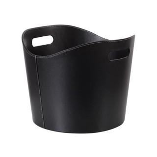 Panier Porte-Buches - Aspect Cuir Noir - 31 X Ø 39 Cm