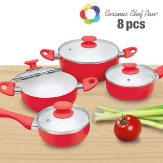 Batterie de Cuisine Ceramic Chef Pan (8 pièces) - Rouge