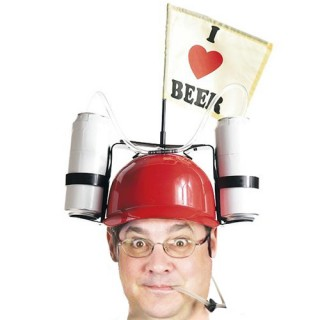 Casque I Love Beer avec Support Boisson - Rouge