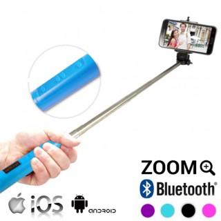 Perche Selfie Bluetooth avec Zoom - Bleu