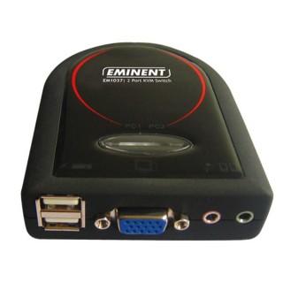 EMINENT - COMMUTATEUR KVM AVEC 2 PORTS USB ET SUPPORT AUDIO