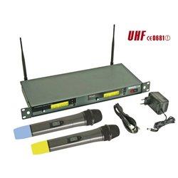 DOUBLE MICROPHONE PLL UHF SANS FIL À 8 CANAUX AVEC AFFICHEUR LCD