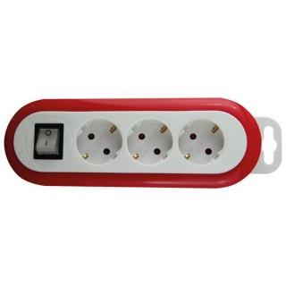 Multiprise À 3 Prises Avec Interrupteur - Rouge/Blanc - Terre Allemande