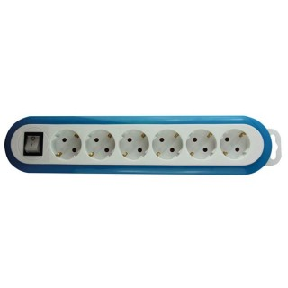 Multiprise À 6 Prises Avec Interrupteur - Bleu/Blanc