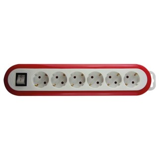 Multiprise À 6 Prises Avec Interrupteur - Rouge/Blanc - Terre Allemande