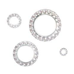 Boite de ± 200 rondelles éventails en acier galvanisé.