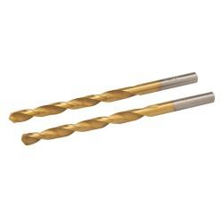 Jeu de 2 mèches en acier rapide HSS titanées - 4,8 mm