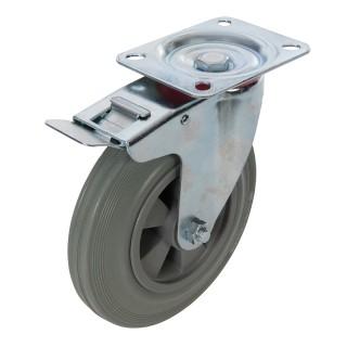 Roulette pivotante caoutchouc - 200 mm 200 kg