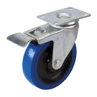 Roulette pivotante en caouthcouc avec frein - 125 mm 180 kg bleue