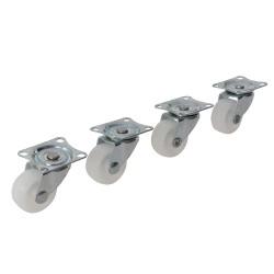 4 roulettes pivotantes caoutchouc usage léger - 31 mm