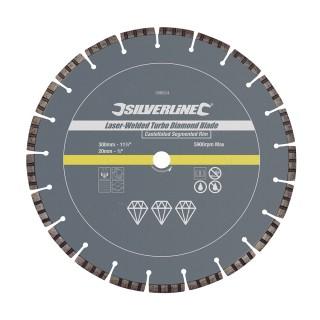 Disque diamanté à tronçonner soudé au laser bordure segmentée crénelée Turbo - 300 x 20 mm