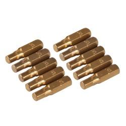 10 embouts dorés 6 pans - 5 mm