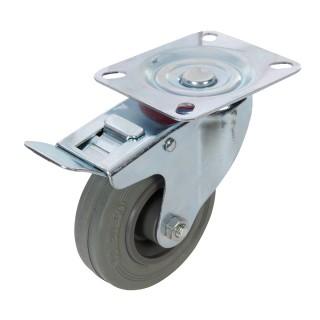 Roulette pivotante caoutchouc à frein - 100 mm 70 kg