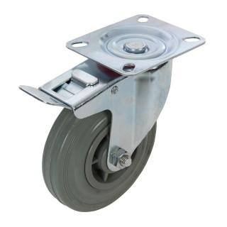 Roulette pivotante caoutchouc à frein - 125 mm 100 kg