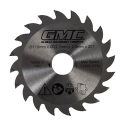 Lame de scie TCT - GTS1500 - 110 mm x 22,2 mm - 20 dents