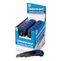 Boîte présentoir de 10 cutters à lame sécable auto-rechargeables 18 mm - 10 pcs