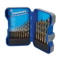 Cassette de 17 mèches en acier rapide HSS titanées - 17 pcs