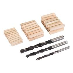 Lot 47 pièces de chevilles et mèches à bois - 6, 8 et 10 mm