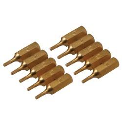 10 embouts dorés 6 pans - 2 mm