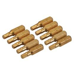 10 embouts dorés 6 pans - 4 mm