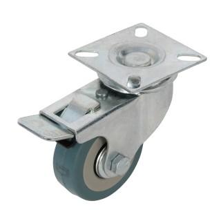 Roulette pivotante caoutchouc à frein - 50 mm 50 kg