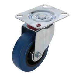 Roulette en caouthcouc pivotante - 100 mm 140 kg bleue
