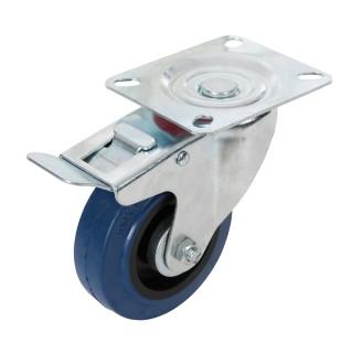 Roulette pivotante en caouthcouc avec frein - 100 mm 140 kg bleue