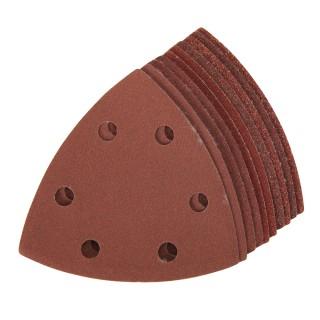Lot de 10 feuilles abrasives auto-agrippantes triangulaires 90mm - Grains assortis