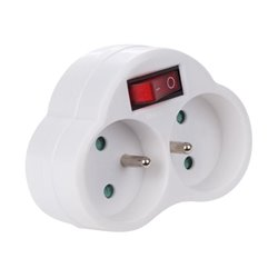 Adaptor With On/Off Switch - 2 Sockets