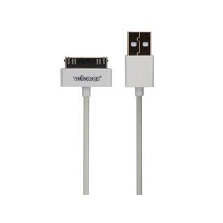 Câble Usb 2.0 A Mâle Vers Apple® 30 Broches Mâle - Blanc - 1 M