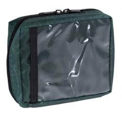 Trousse de secours en tissu imperméable vert.