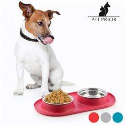 Comedero-Bebedero para Animales Antideslizante Pet Prior-Couleur-Gris