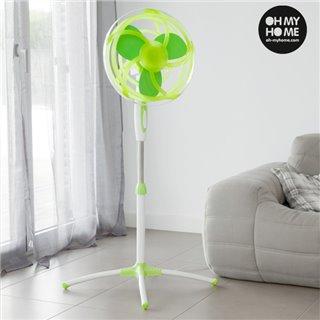 Ventilateur sur Pied Vert avec Pales en Caoutchouc EVA Oh My Home 45W