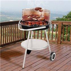 Barbecue Charbon avec Roulettes et Gril Réglable
