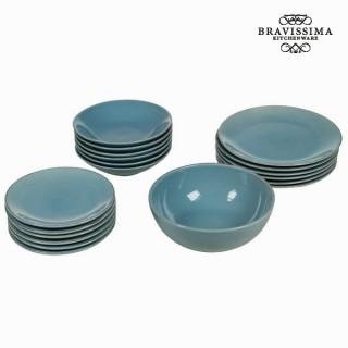 Service vaisselle de 19 pièces en faïence bleu - Collection Kitchen's Deco by Bravissima Kitchen