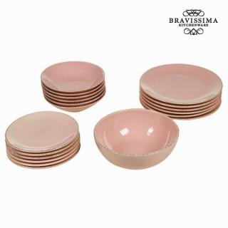Service vaisselle de 19 pièces en faïence rose - Collection Kitchen's Deco by Bravissima Kitchen