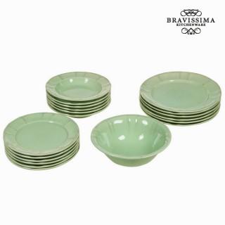 Service vaisselle de 19 pièces en faïence vert - Collection Kitchen's Deco by Bravissima Kitchen