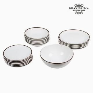 Assietes (19 pcs) Vaisselle Blanc Marron - Collection Kitchen's Deco by Bravissima Kitchen
