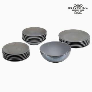 Assietes (19 pcs) Vaisselle Gris - Collection Kitchen's Deco by Bravissima Kitchen