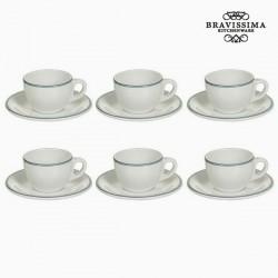 Ensemble de thé Vaisselle Blanc Bleu (12 pcs) - Collection Kitchen's Deco by Bravissima Kitchen