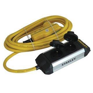 """Stanley - Bloc Multiprise """"Core"""" - 2 Prises - Avec Clapets Et Interrupteur Différentiel"""