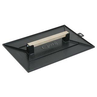 Taloche noir rectangulaire - plateau alvéole - manche bois - 42 X 28 -
