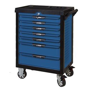 Servante PEARLline bleue 7 tiroirs équipée de 202 outils