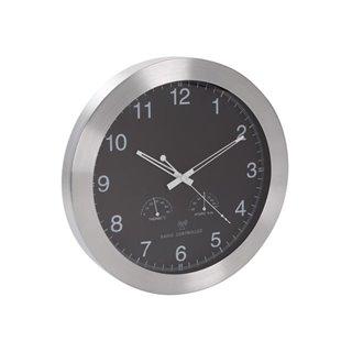 Horloge Murale Dcf Avec Thermomètre & Hygromètre - Aluminium - Ø 35 Cm